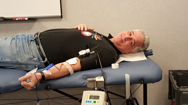 Ron, a pint low, but still all smiles while donating the gift of life.
