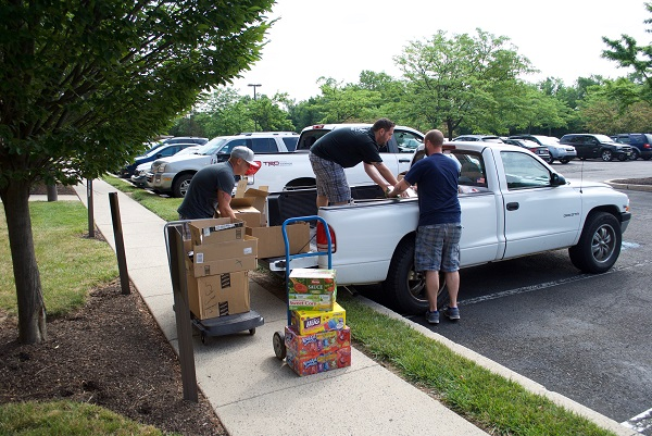 More loading to be done. In fact, we needed two pick-up trucks to carry all the food!