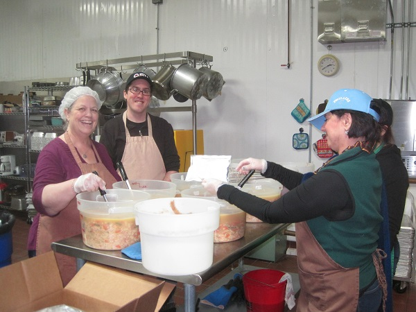 Debbie, Dave and Laurie are making soup to go!